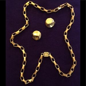 Anne Klein Vintage Gold Chain Necklace & Earrings
